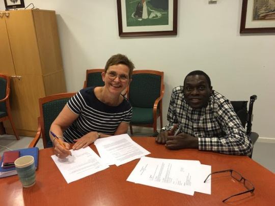 SAFOD Director General Mussa Chiwaula and FFO Secretary General Lilly Ann Elvestad signing Agreement at FFO office